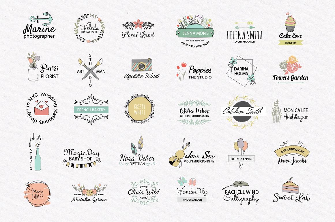 Cute Vector Logos Collection. 30 templates example image 2
