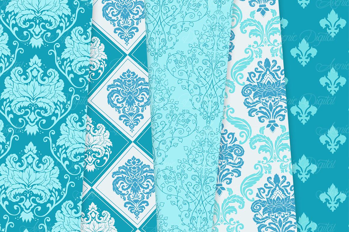 28 Soft Blue Damask Patterns - Seamless Digital Papers Bundle example image 6