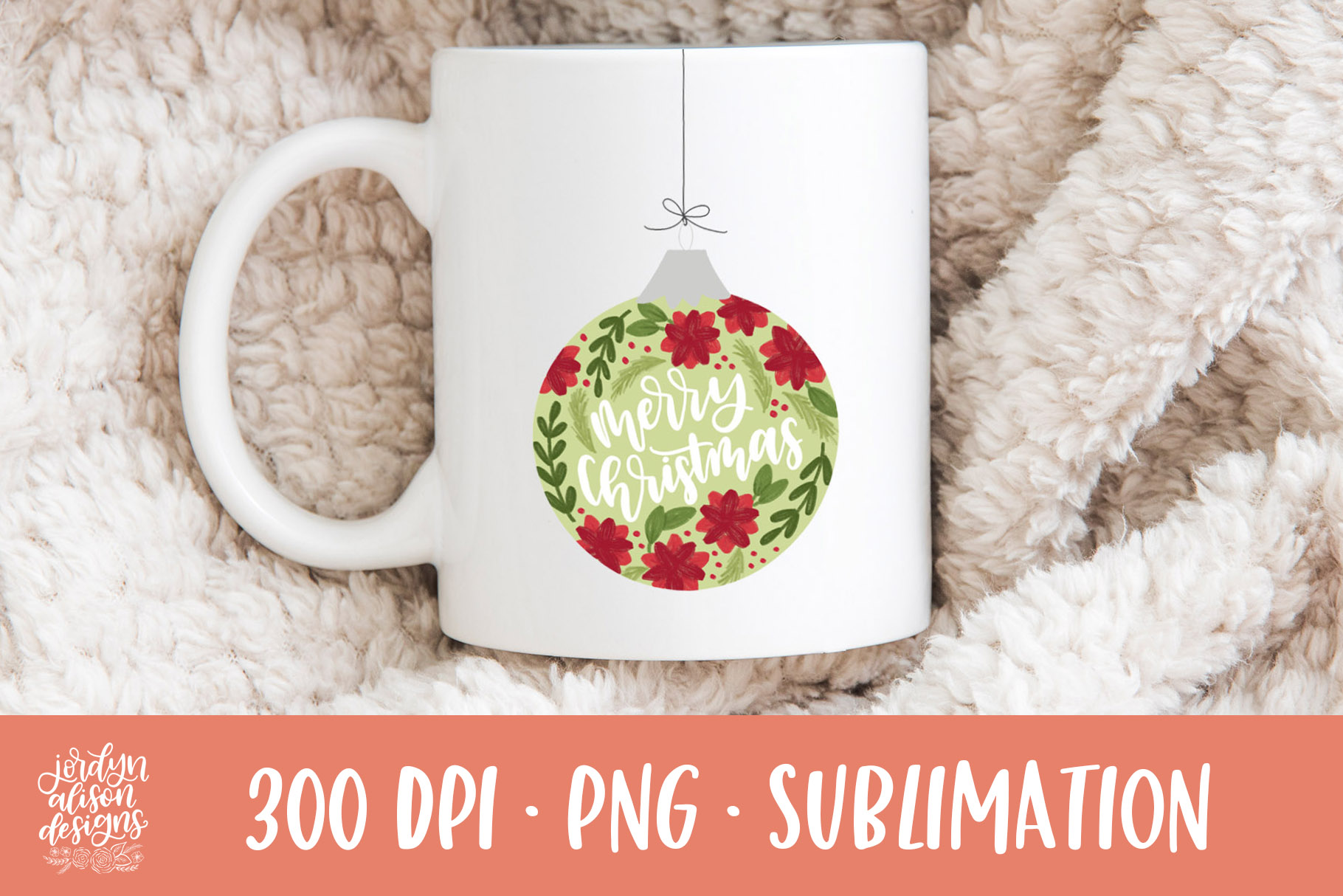 Merry Christmas Ornament, Holiday Sublimation Design example image 2