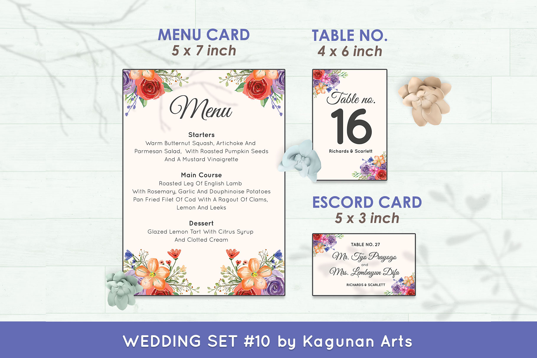 Wedding Invitation Set #10 Watercolor Floral Flower Style example image 6