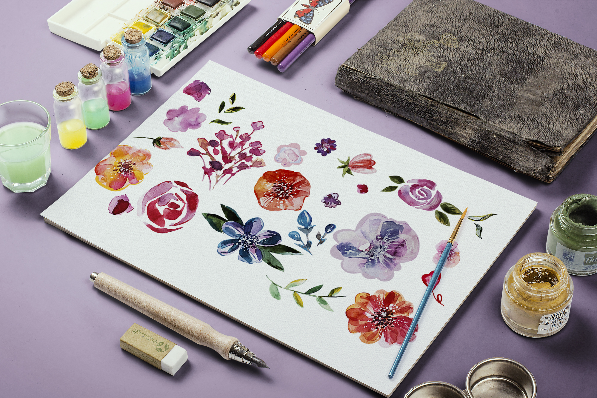 Watercolor flowers set example image 2