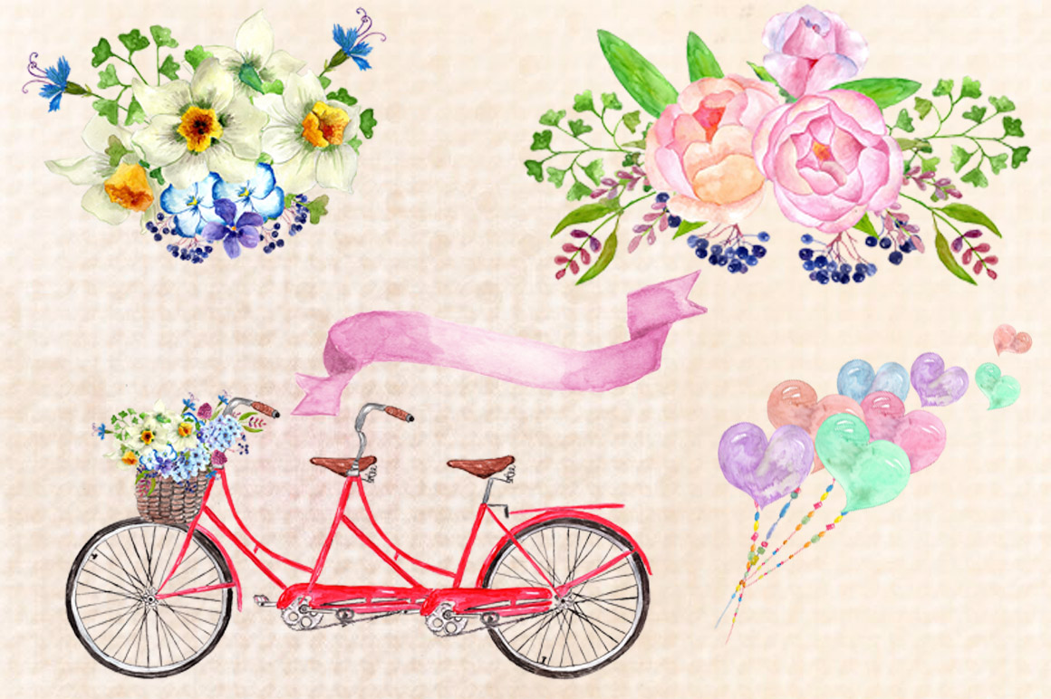 Watercolor bouquets clipart example image 3