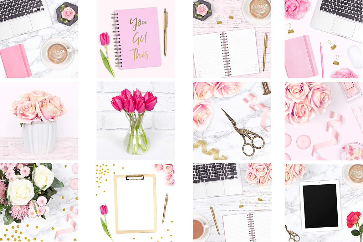 Feminine Desk Styled Stock Photo Bundle example image 2