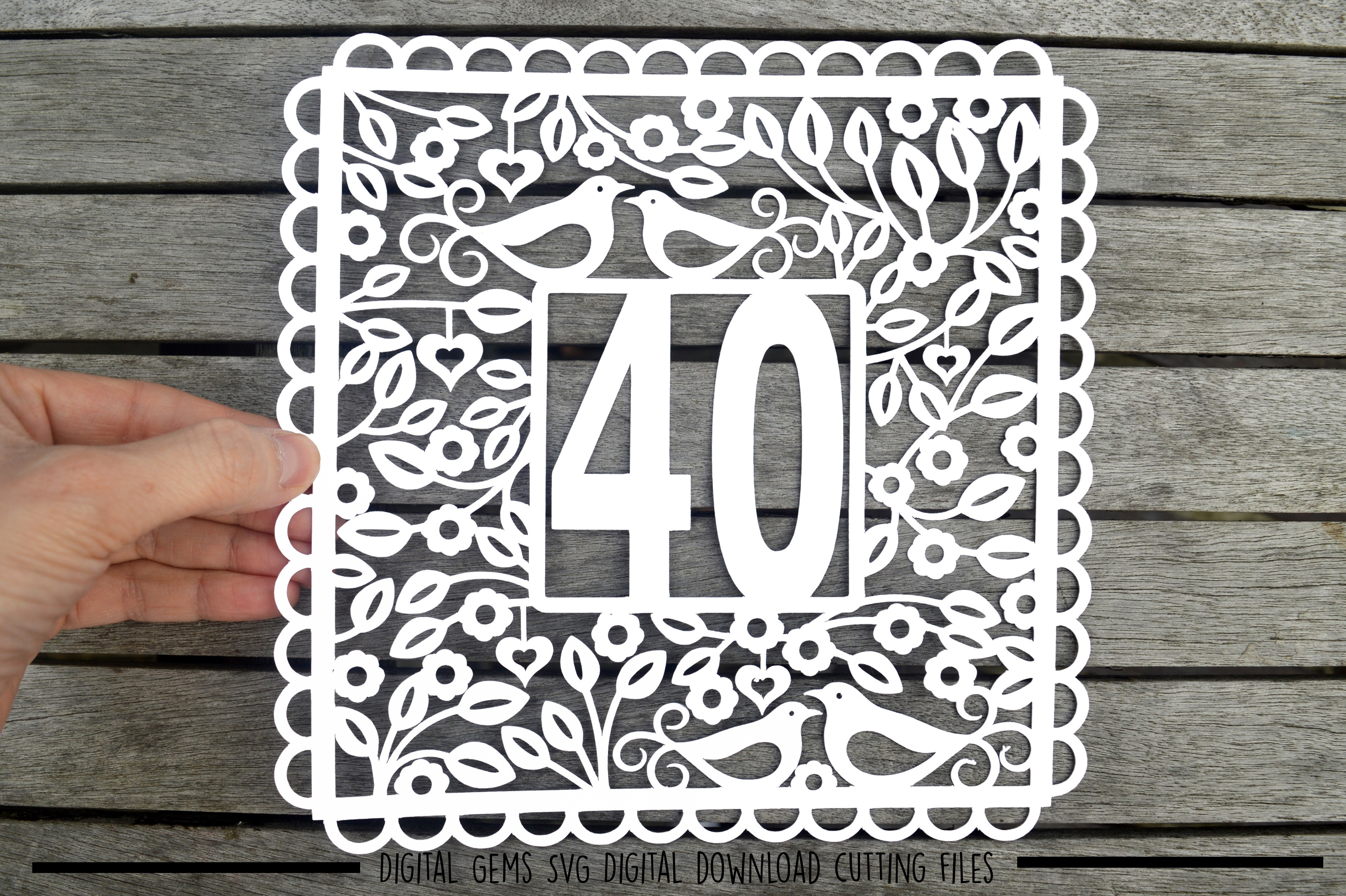 Number 40 paper cut SVG / DXF / EPS files example image 1