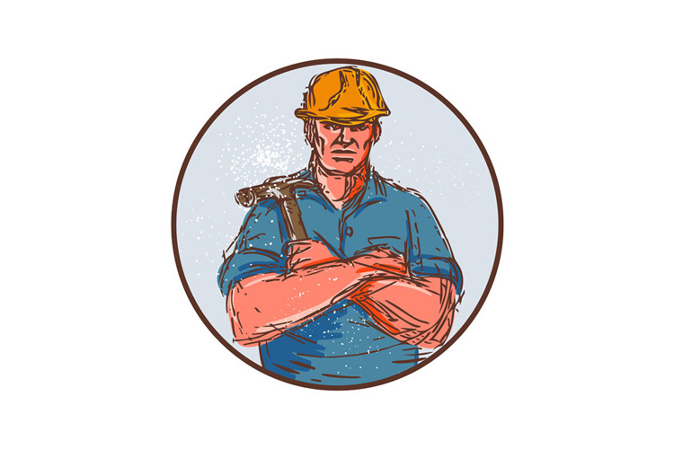 Builder Arms Crossed Hammer Circle Drawing example image 1
