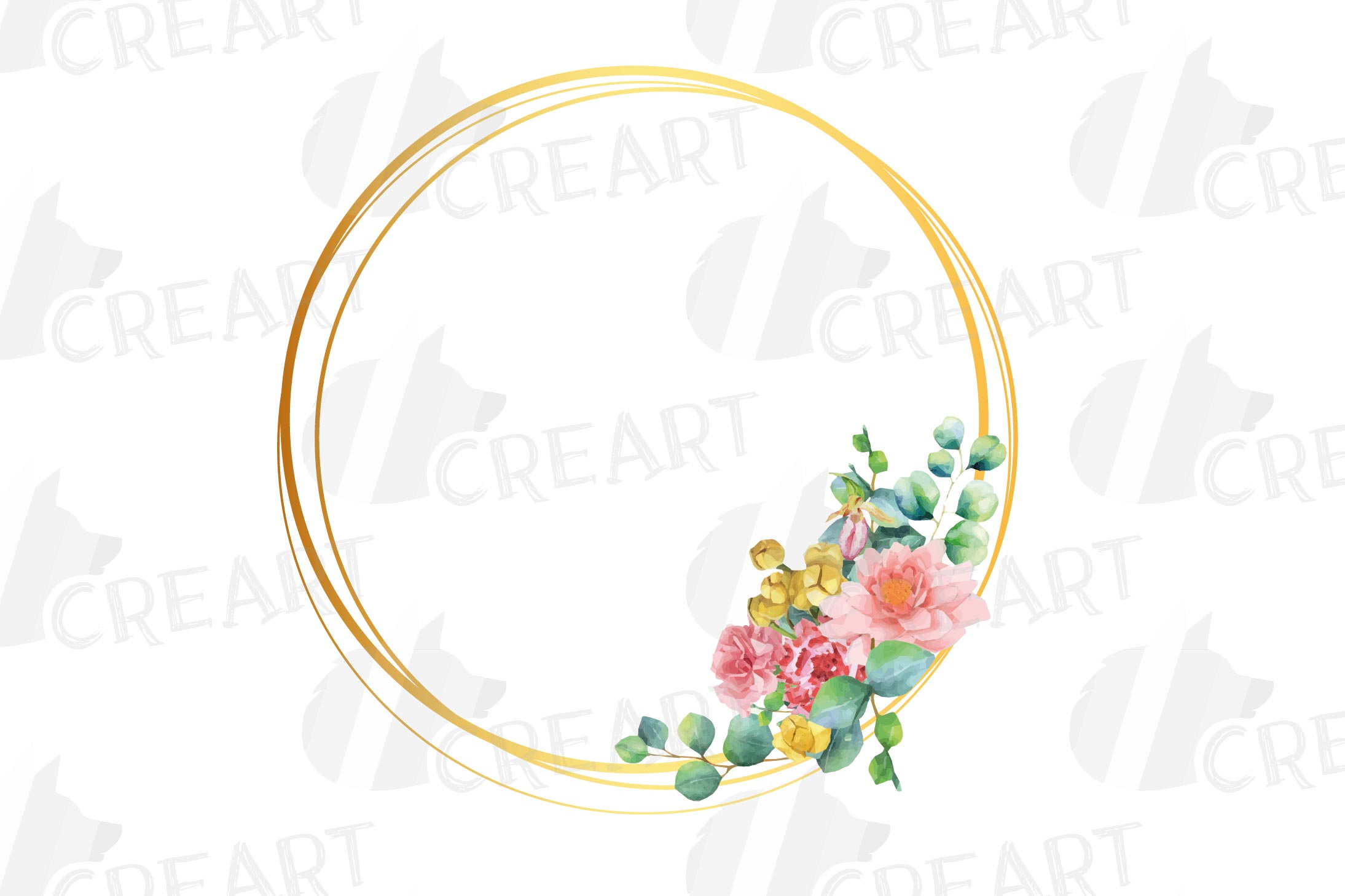 Watercolor floral golden frames and borders clip art pack example image 14