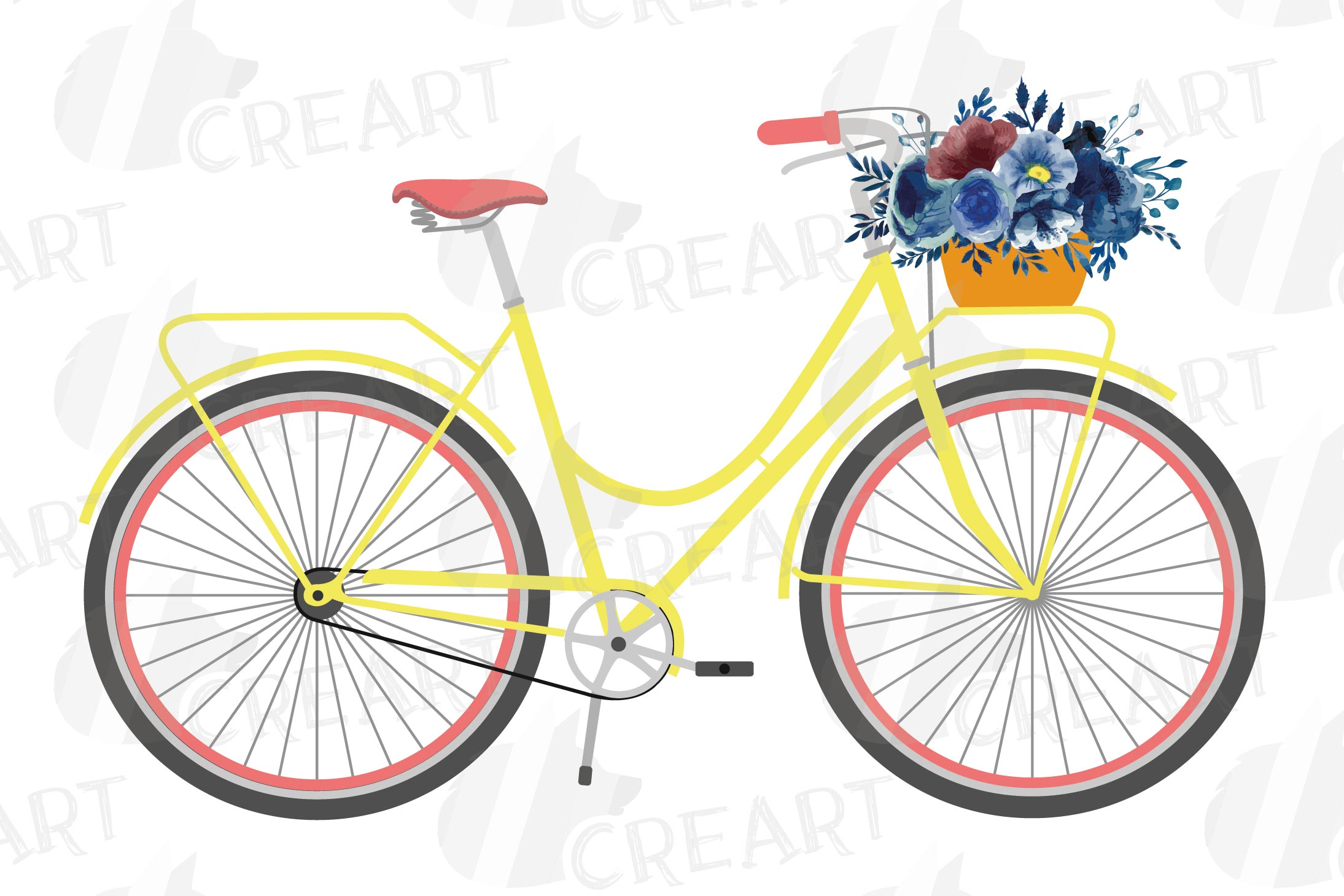 Navy blue floral blush and yellow bicycles clip art pack example image 8