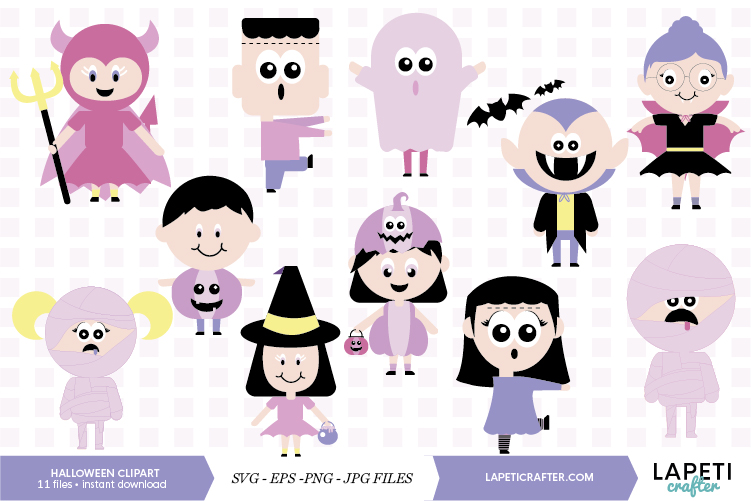 Cute Halloween clip art, halloween kids, halloween party png example image 1