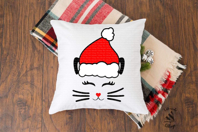 Santa Cat Face Santa Claus Christmas SVG Design example image 2