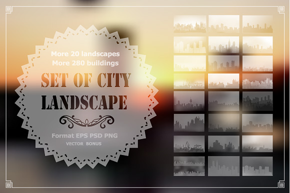 Vector set of city landscape example image 1