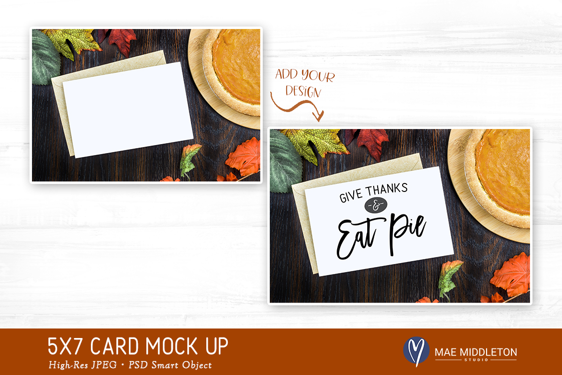 5x7 Card Mock up, Thanksgiving pumpkin pie styled photo example image 2