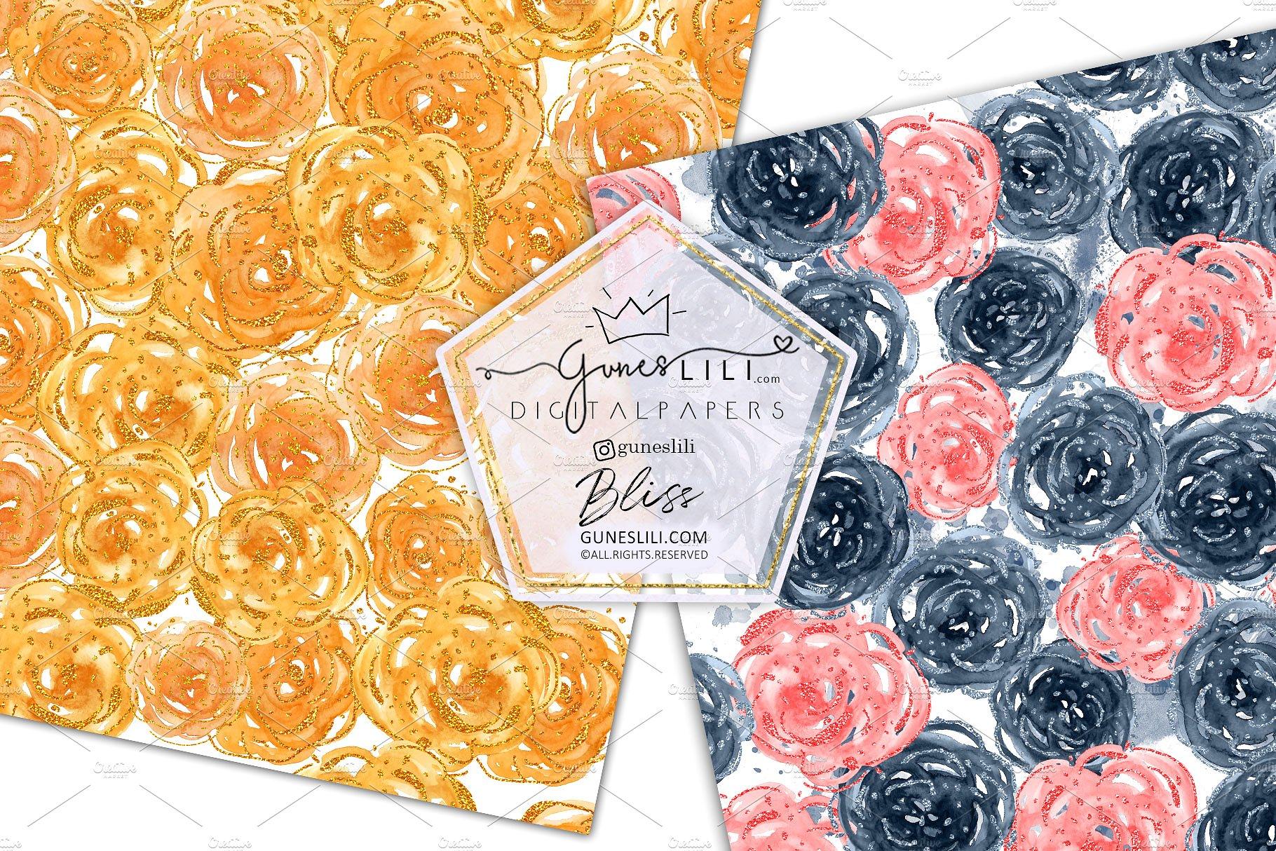 Watercolor Floral Scrapbook Paper Seamless Pattern GunesLili example image 4