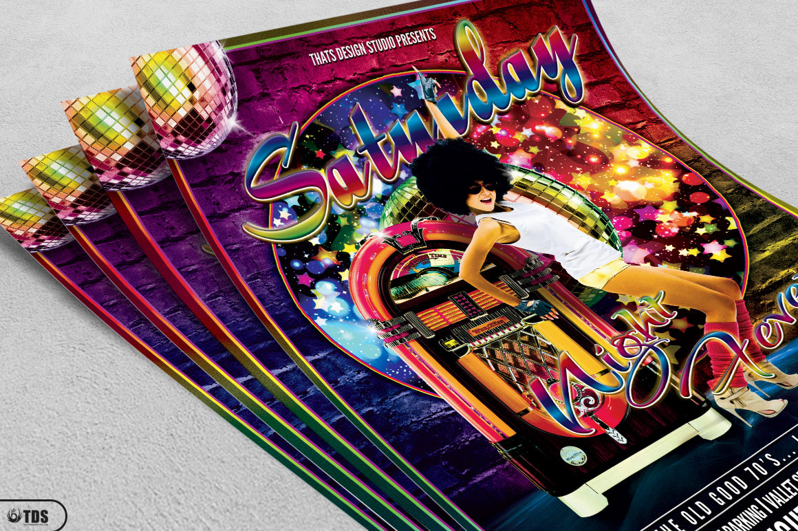 Saturday Night Fever Flyer Template example image 2