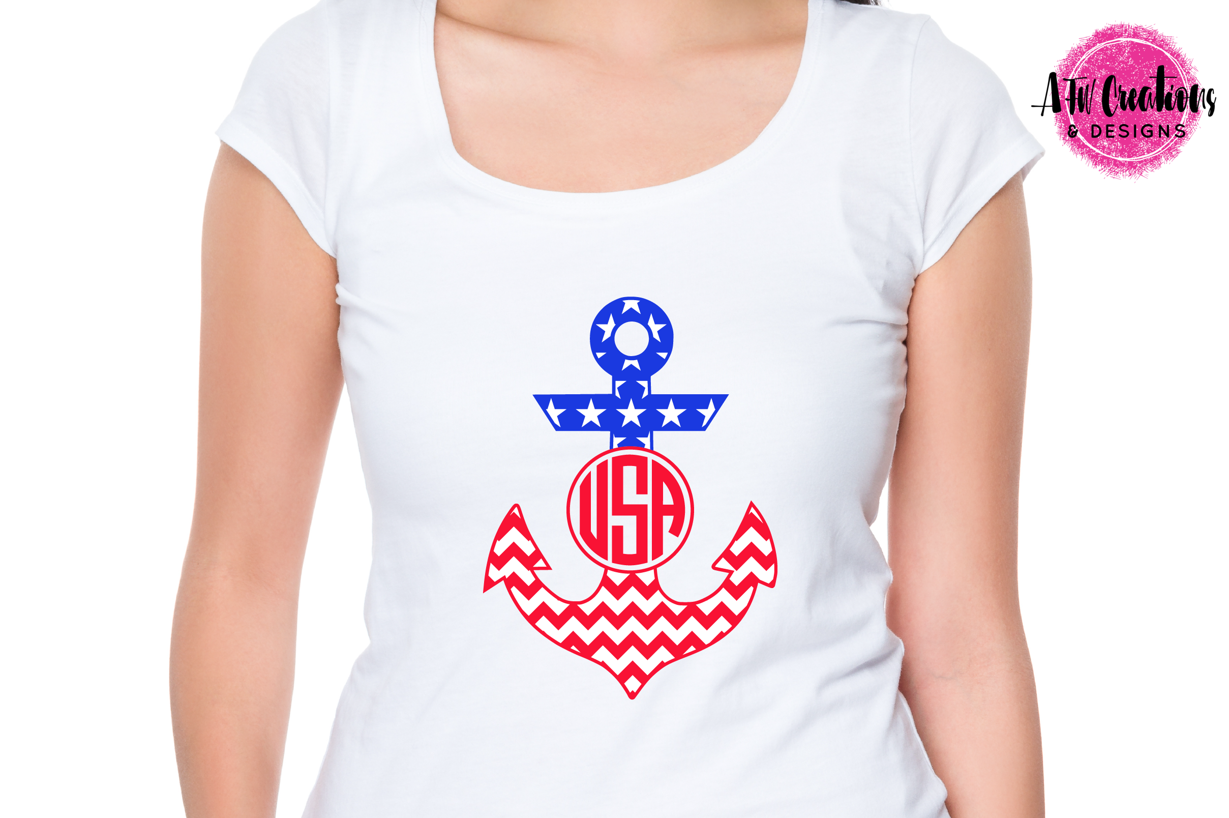 Patriotic Monogram Anchors - SVG, DXF, EPS Cut Files example image 2