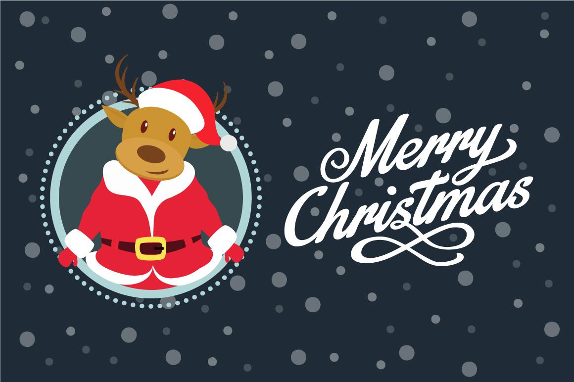 Santa Deer Christmas Greeting Card example image 1