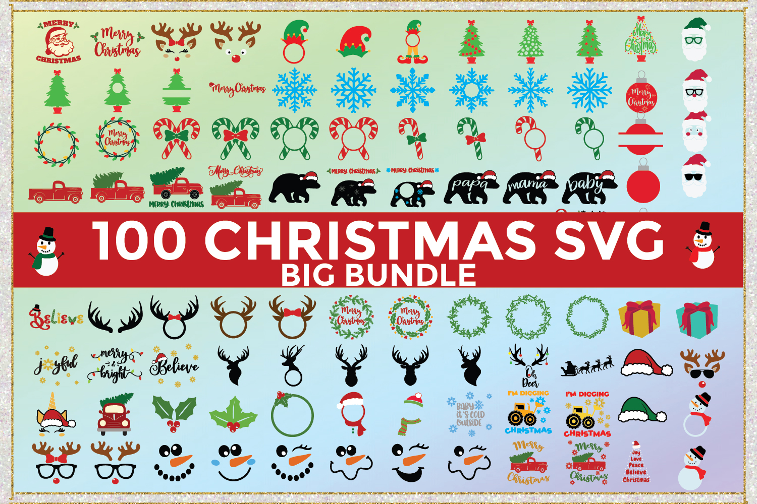 Big Christmas Bundle SVG Cut Files example image 1
