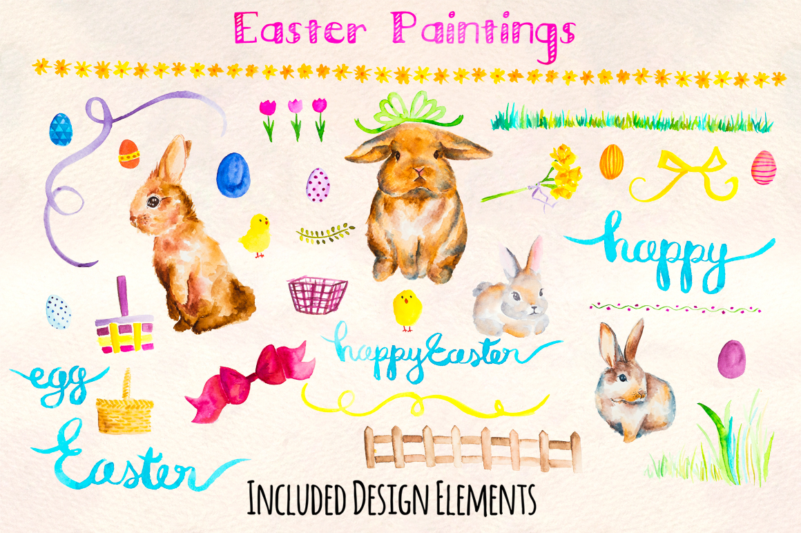 Easter Bunny Watercolor Painted Graphics Kit example image 2