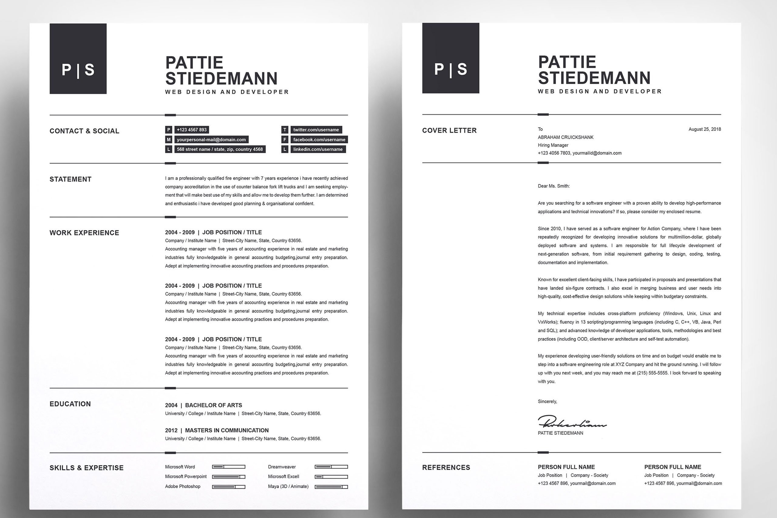 2 Pages Clean Resume Template   Simple & Basic Professional example image 2