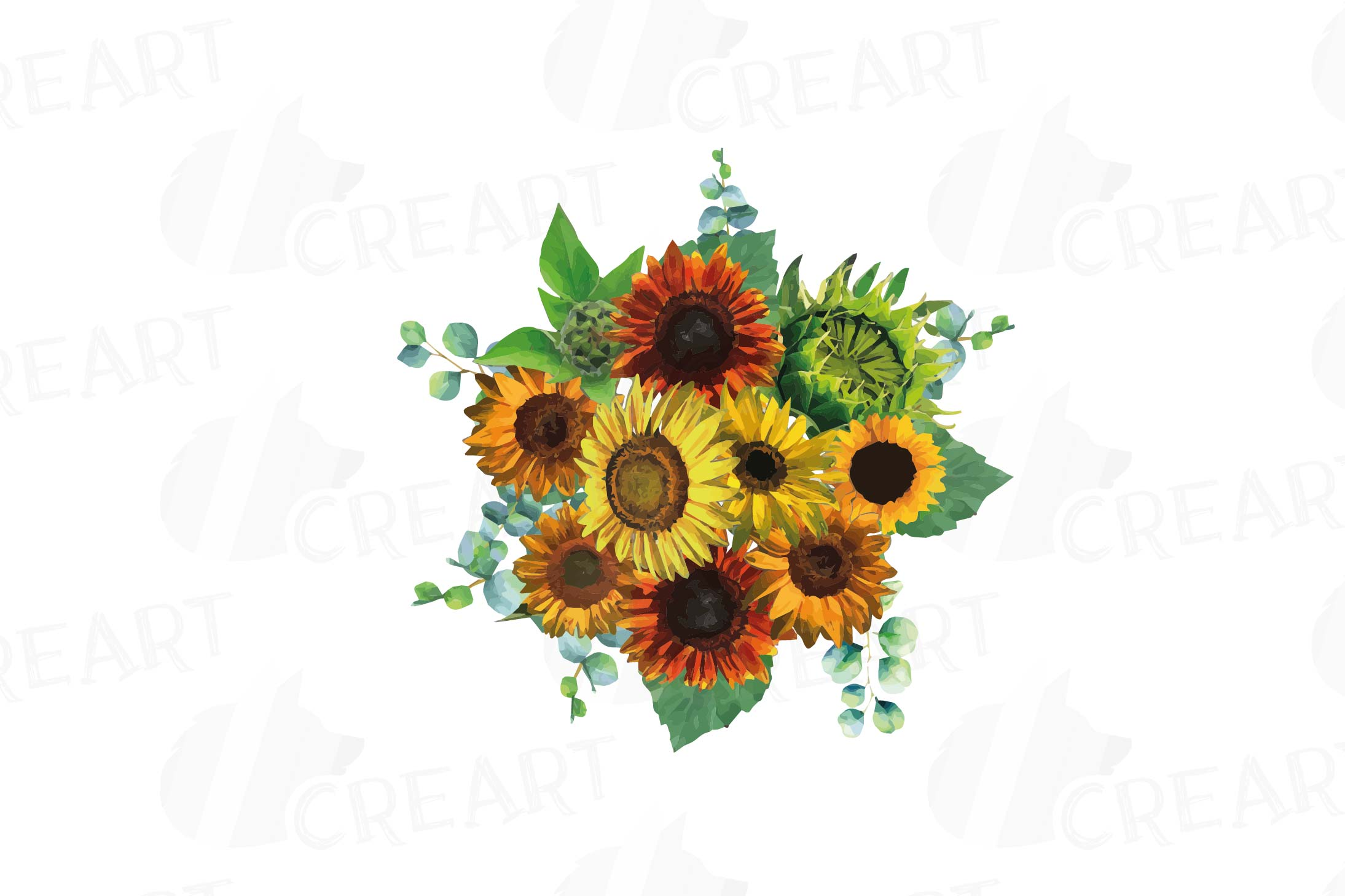 Watercolor sunflower bouquets and design elements example image 3