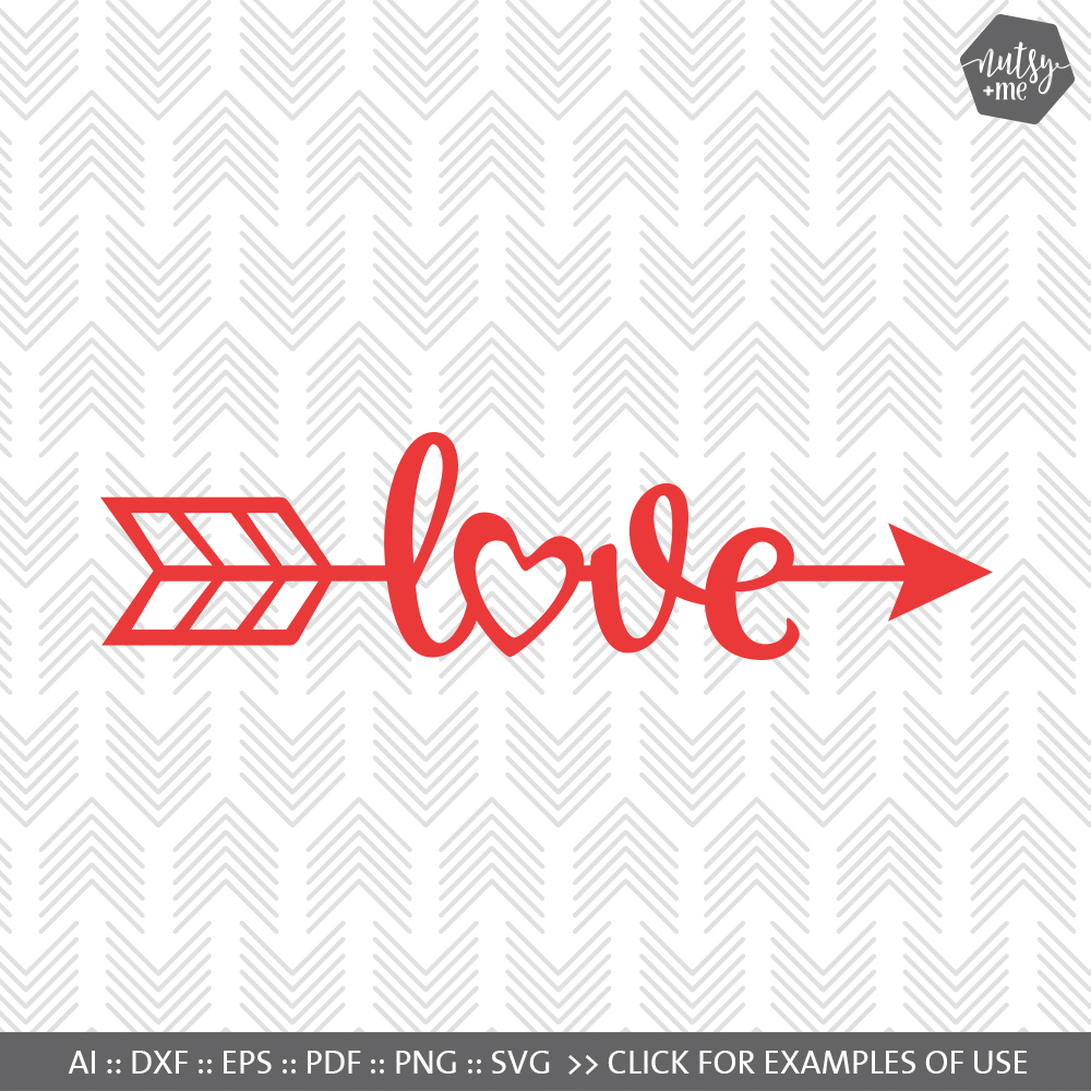 Love Arrow - SVG, AI, EPS, PDF, DXF & PNG FILES example image 1