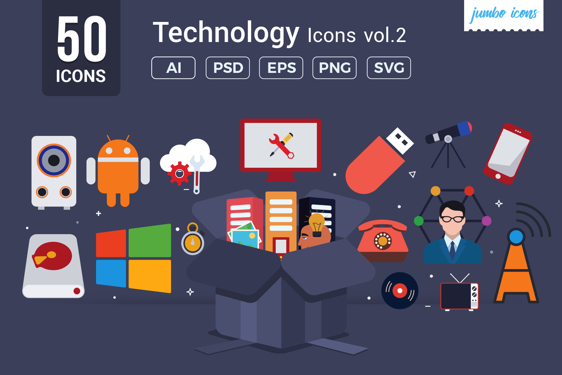 Flat Vector Icons Technology Pack V2 example image 1