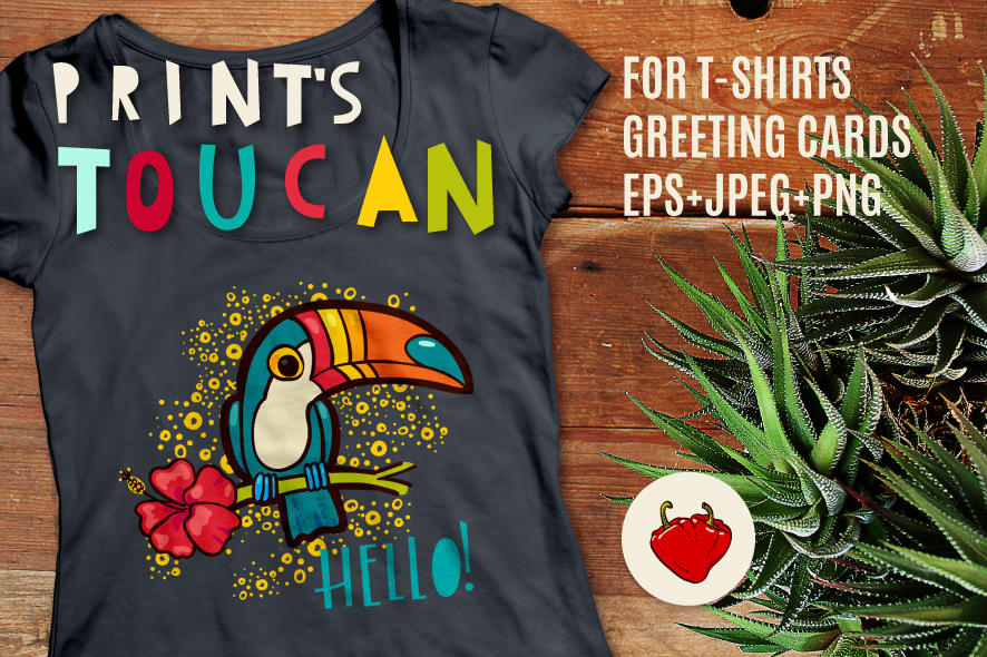 Tropical toucan prints on a t-shirt. example image 1