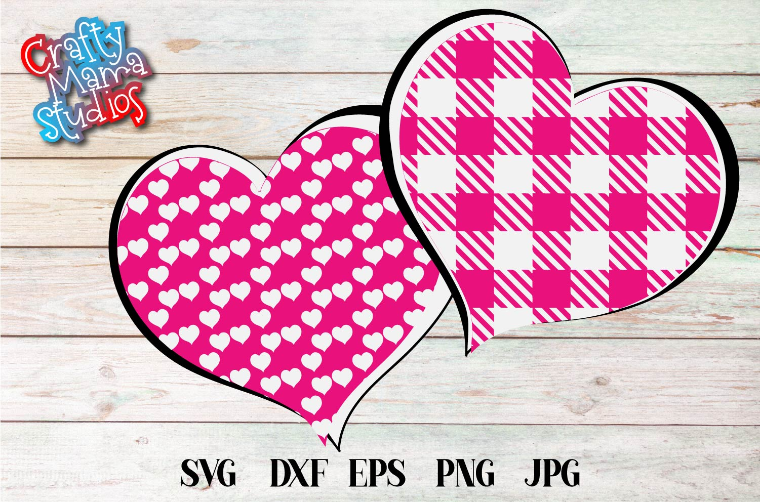 Valentine's Day SVG, Pink Buffalo Plaid Heart Sublimation example image 2