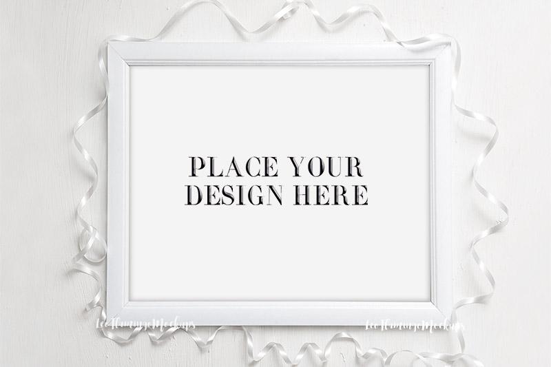 Frame mockup White 8x10 horizontal wedding picture mock up example image 2