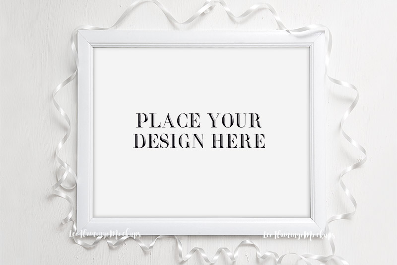 Frame mock up White 8x10 horizontal wedding minimal frames mockup ...