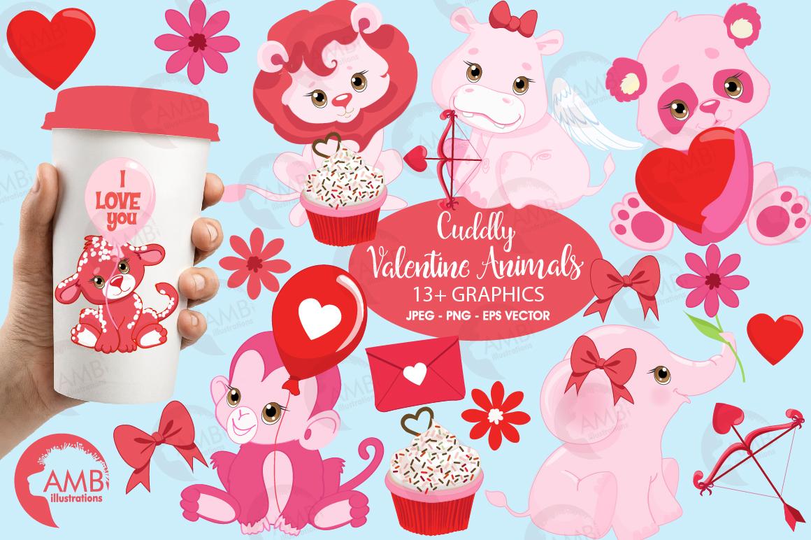 Happy Valentine clipart, Valentine jungle clipart, graphics illustrations AMB-1577 example image 1