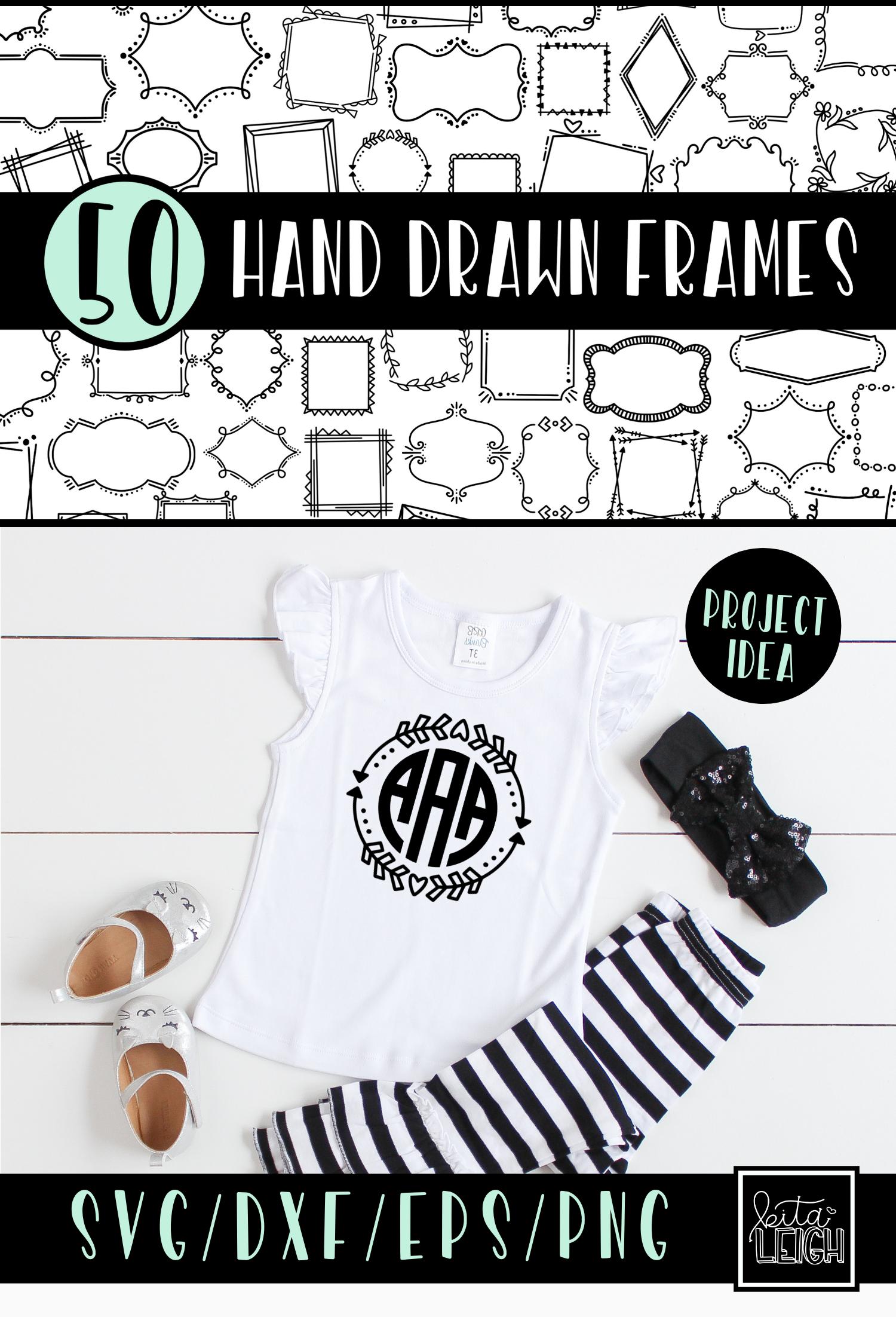 50 Hand Drawn Doodle Frames Bundle example image 4