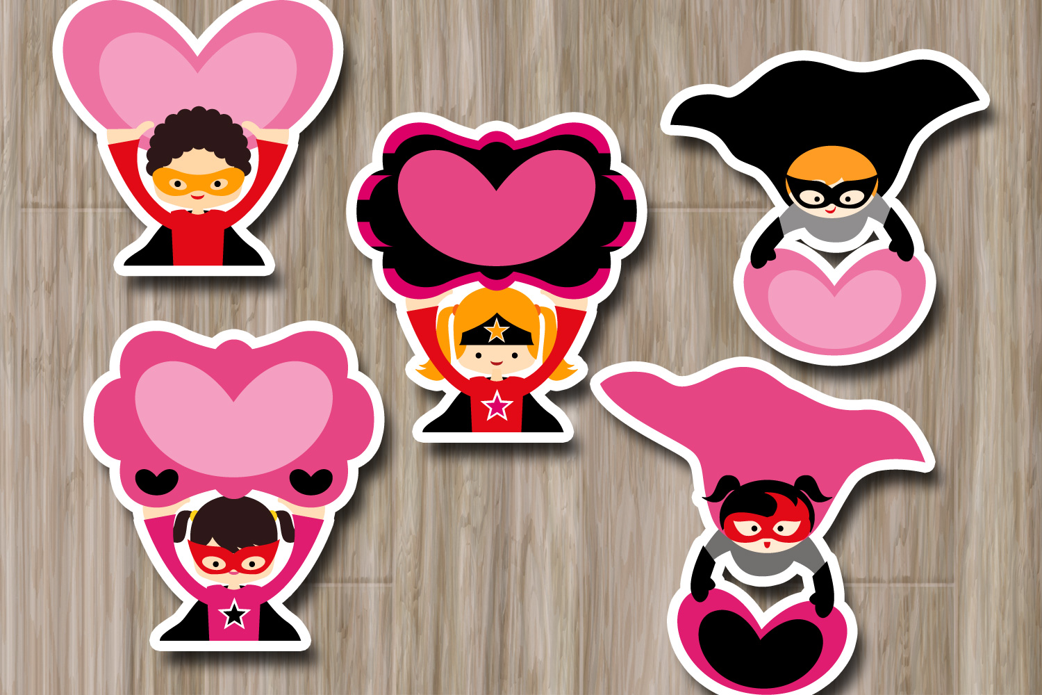 Superhero holds heart sign clipart graphic illustrations example image 2