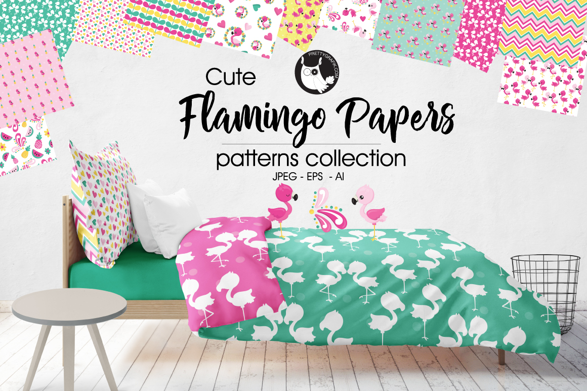 FLAMINGO-PAPERS , digital papers example image 1
