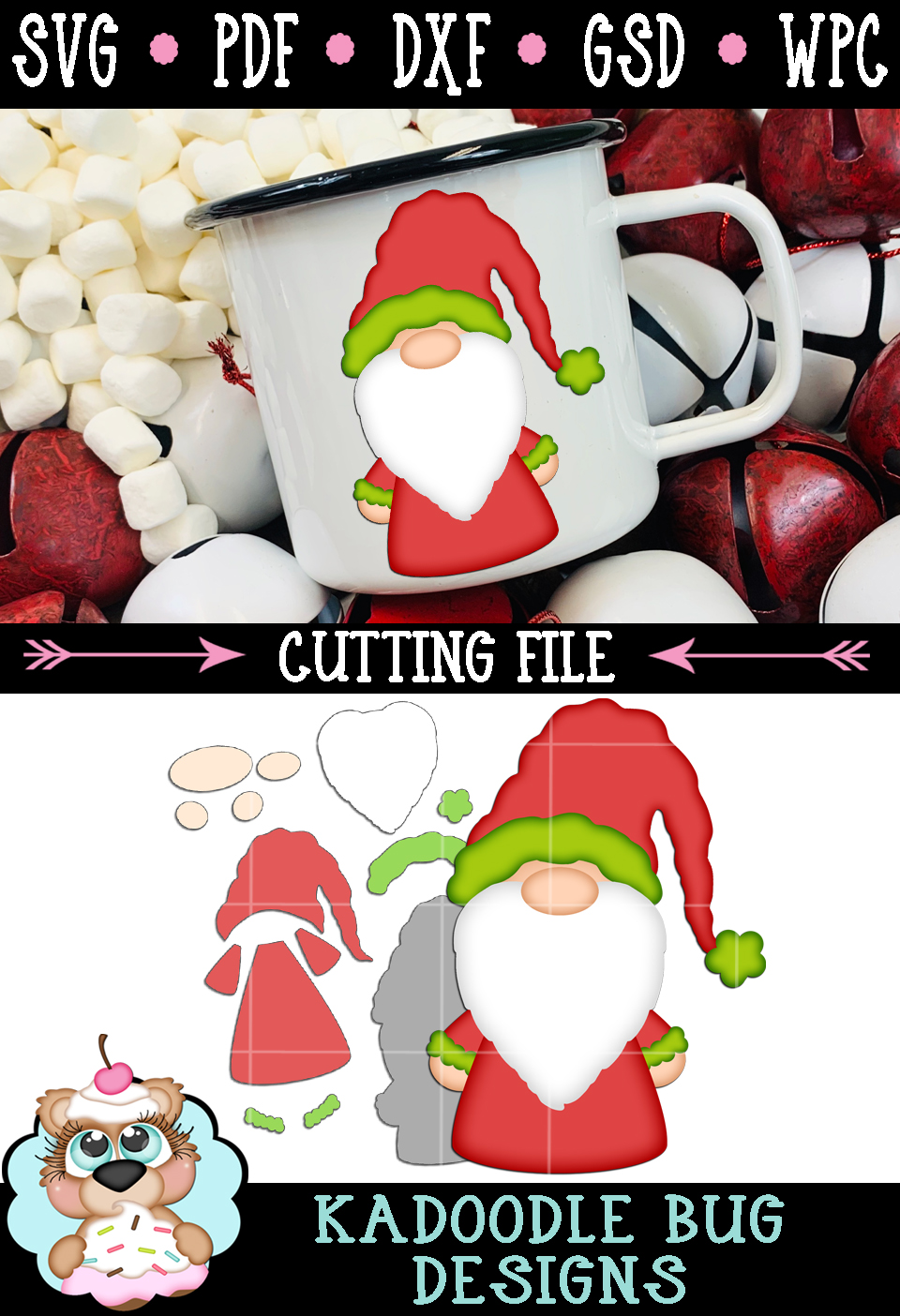 Christmas Gnome Cut File - SVG PDF DXF GSD WPC example image 3