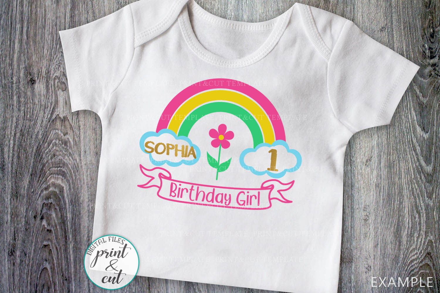 Birthday Rainbow with Ribbon to add name svg dxf to cut file example image 5