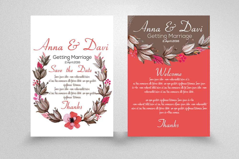 Wedding Double sided Invitation Cards example image 1