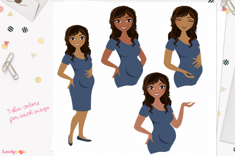 Woman maternity character clip art L194 Bliss example image 1