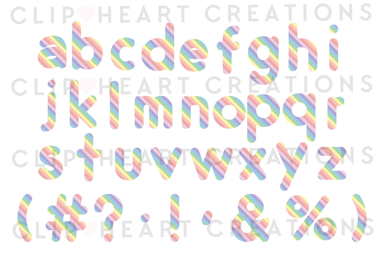 Pastel Rainbow Alphabet & Numbers with Symbols example image 3
