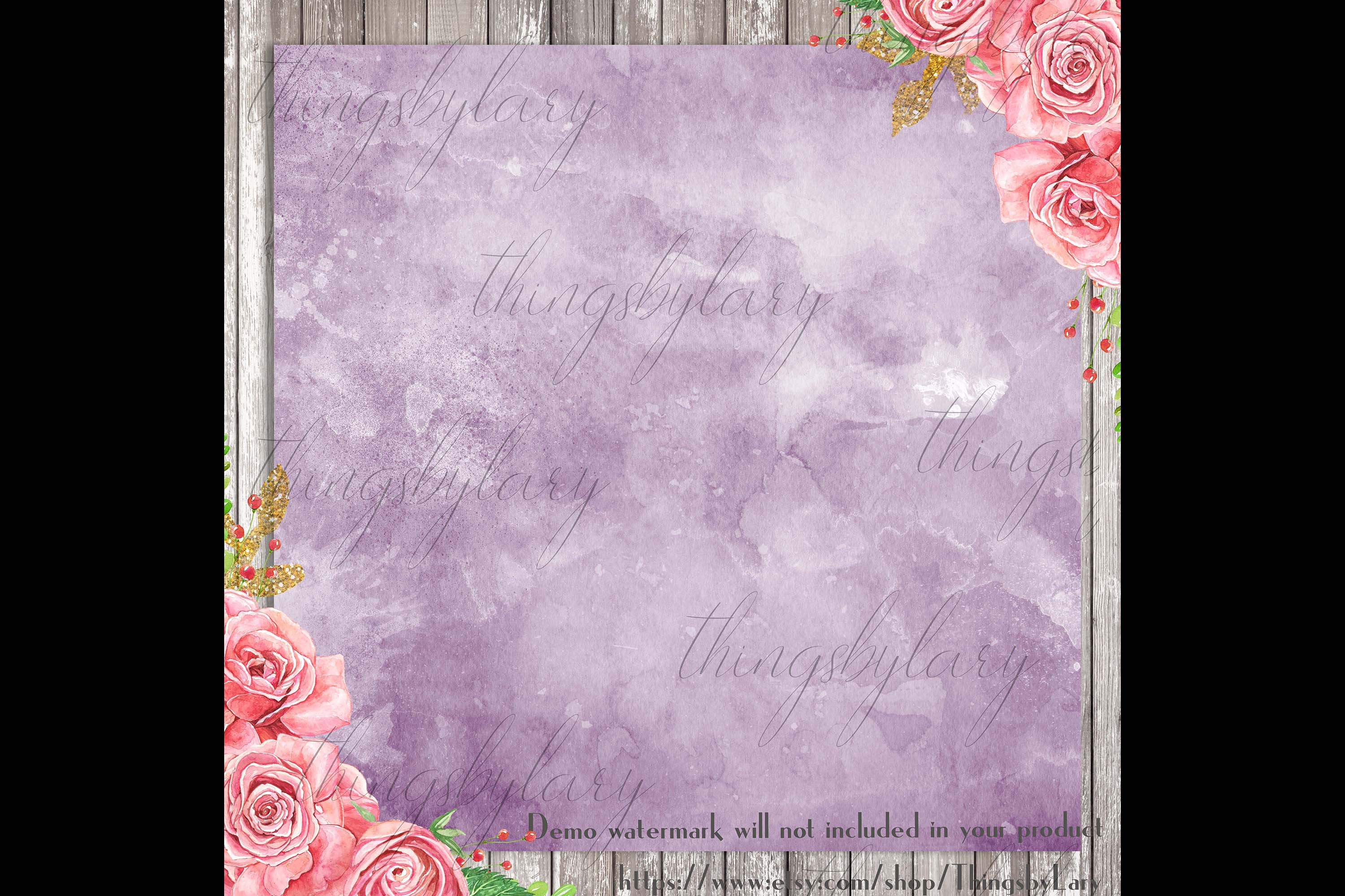 30 Ombre Amethyst & Powder Blue Watercolor Digital Papers example image 2