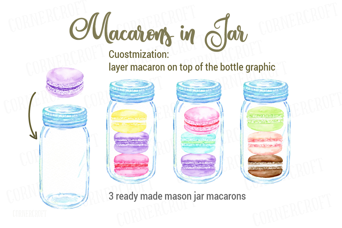 Watercolor Macaron Illustration example image 4