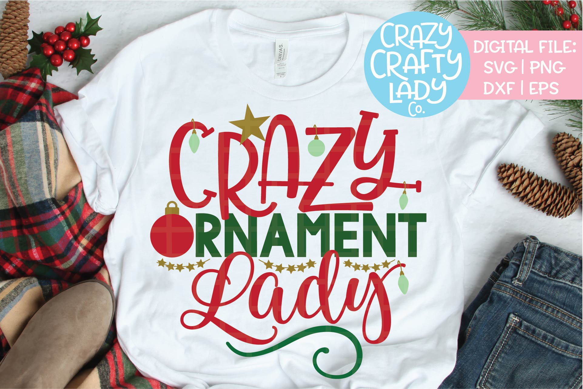 Crazy Ornament Lady SVG DXF EPS PNG Cut File example image 1