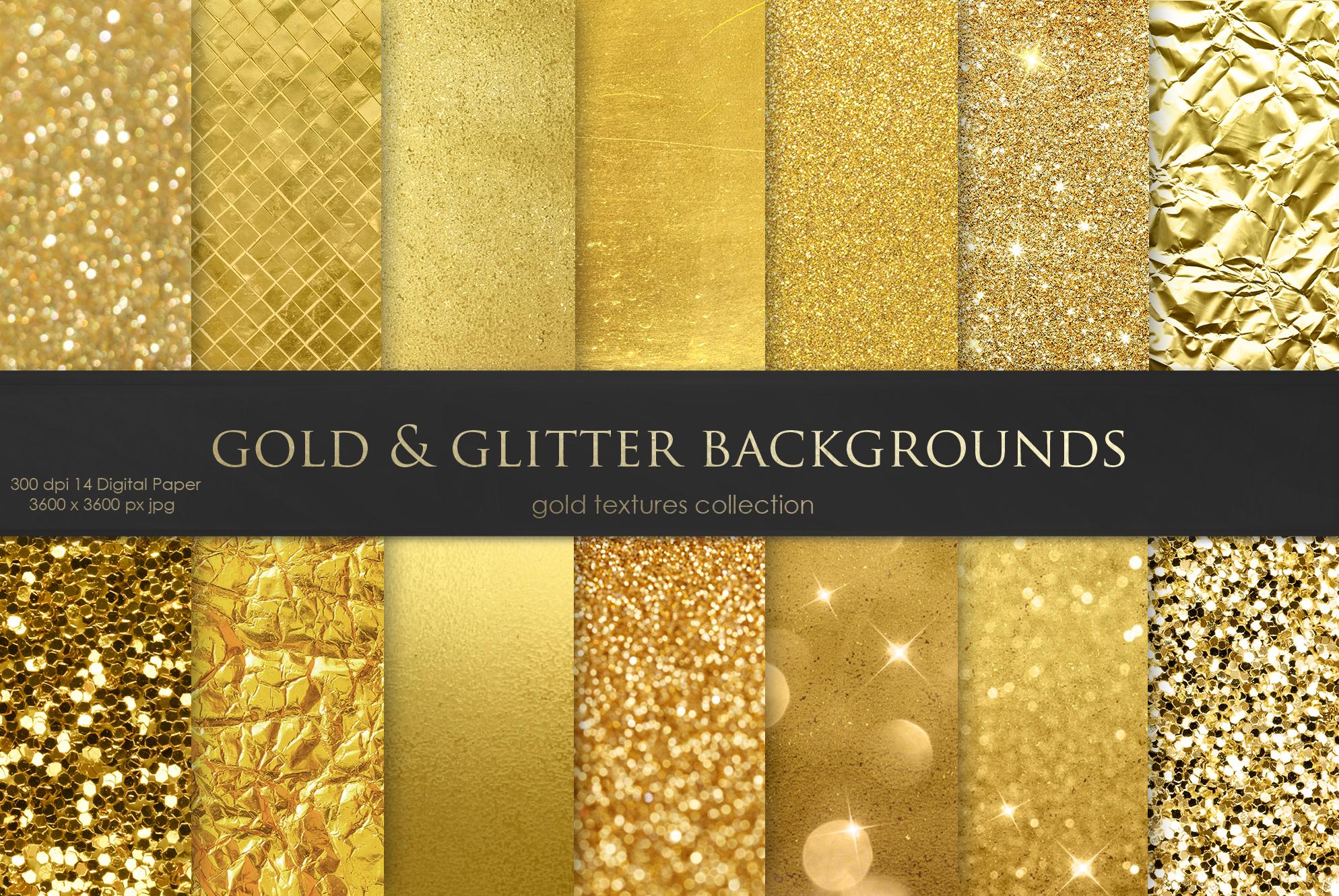 Gold Foil & Glitter Digital Paper example image 1