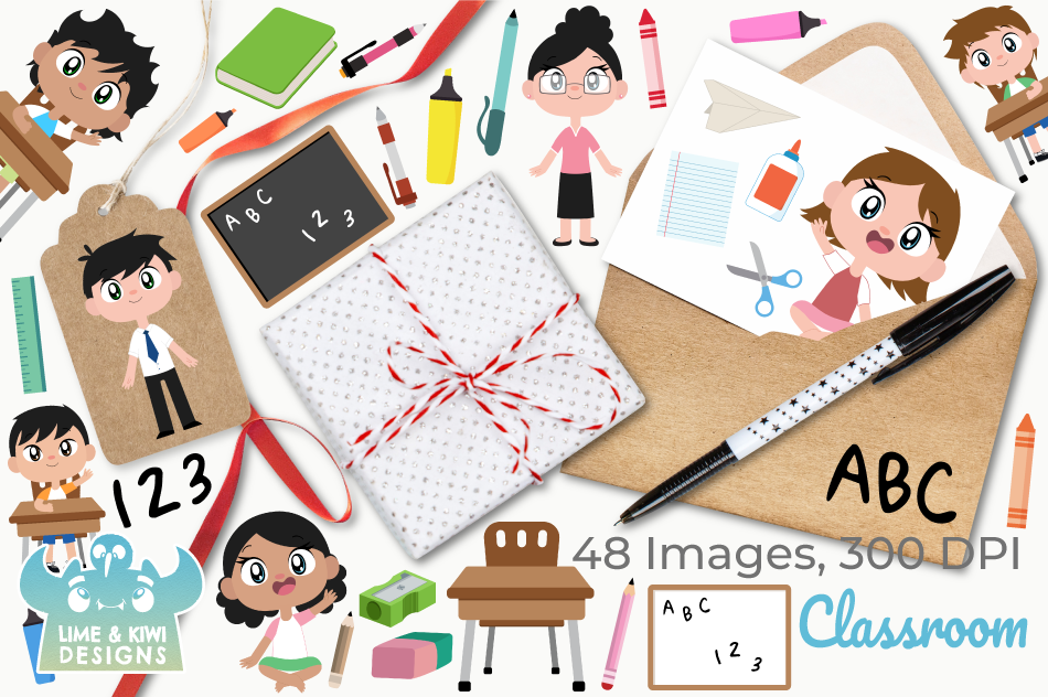 Classroom Clipart, Instant Download Vector Art example image 4