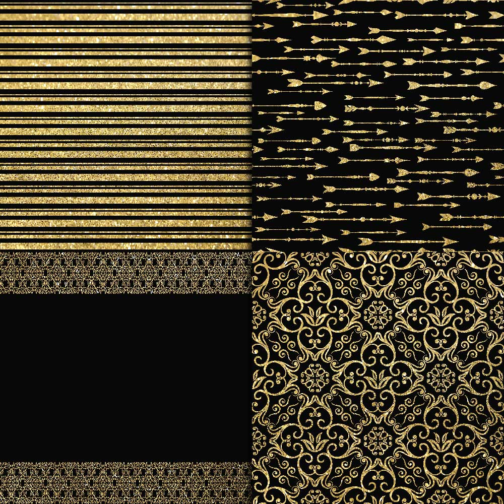 Gold Glitter & Black Digital Paper example image 2