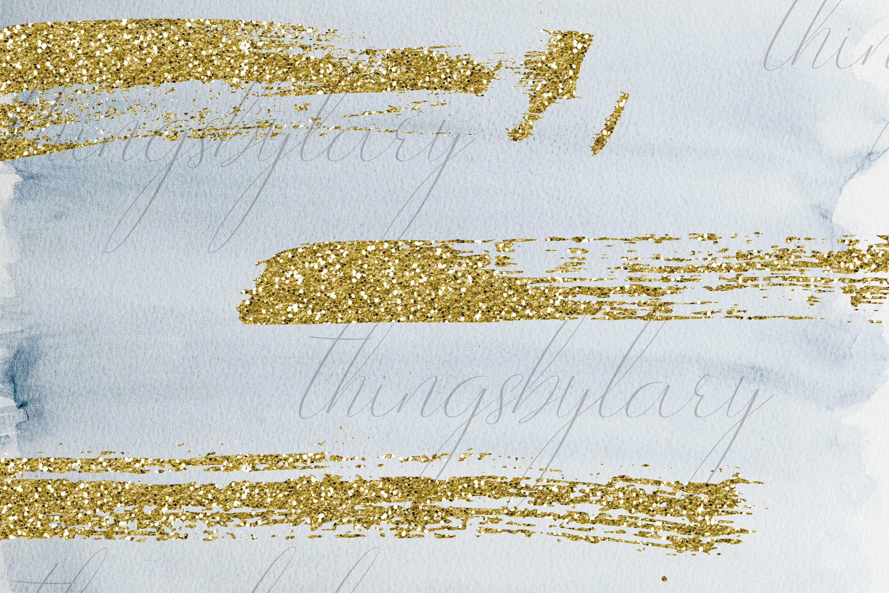33 Gold Glitter and Black Hand Drawn Brush Strokes Images example image 3