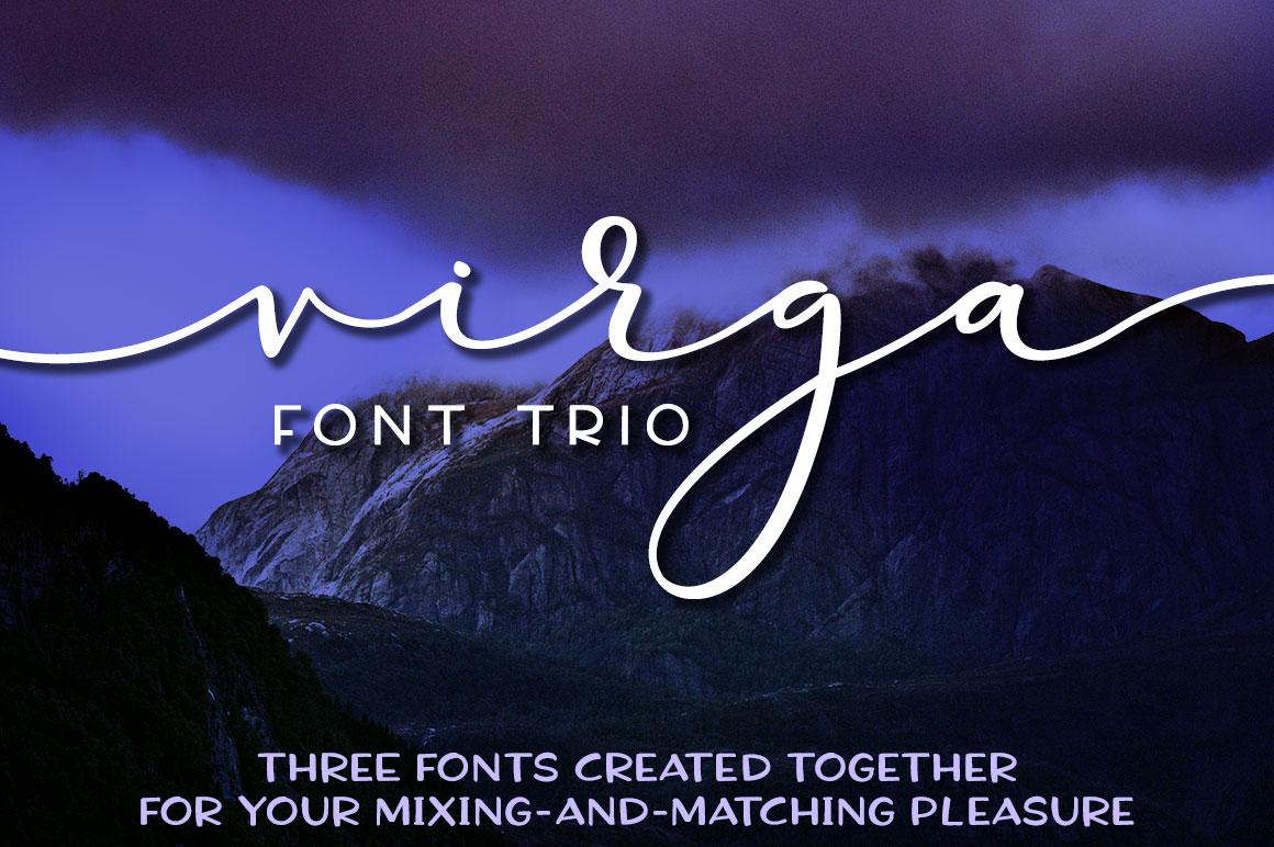 Virga: a font trio with script, handwriting, and sans-serif