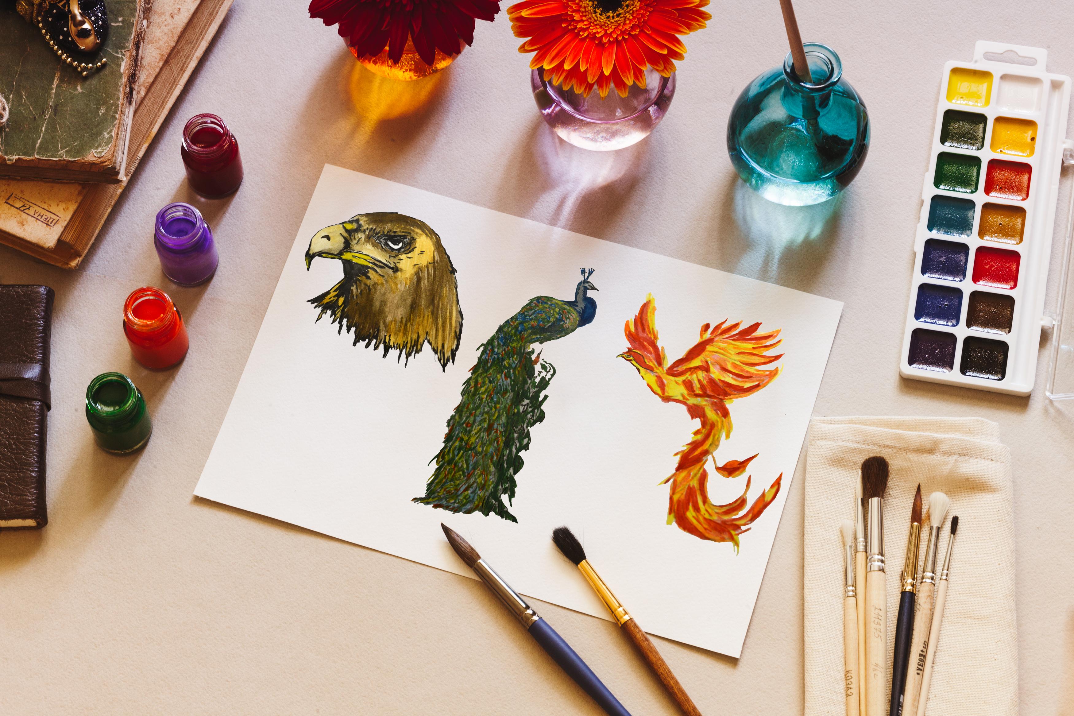 Watercolor birds set example image 2