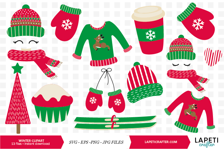 Winter Clipart, 13 instant download christmas vector example image 1