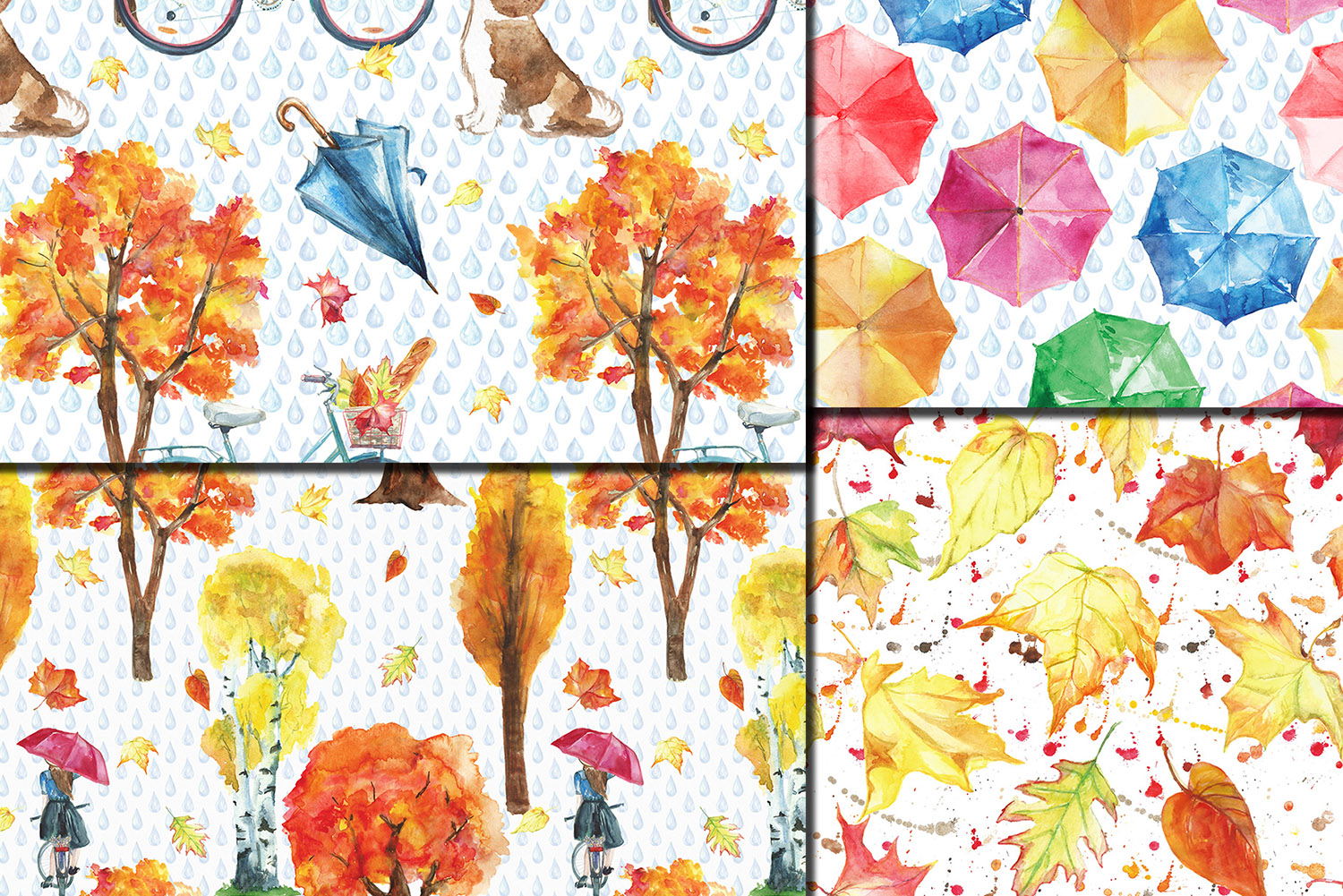 Watercolor City in fall seamless patterns example image 5