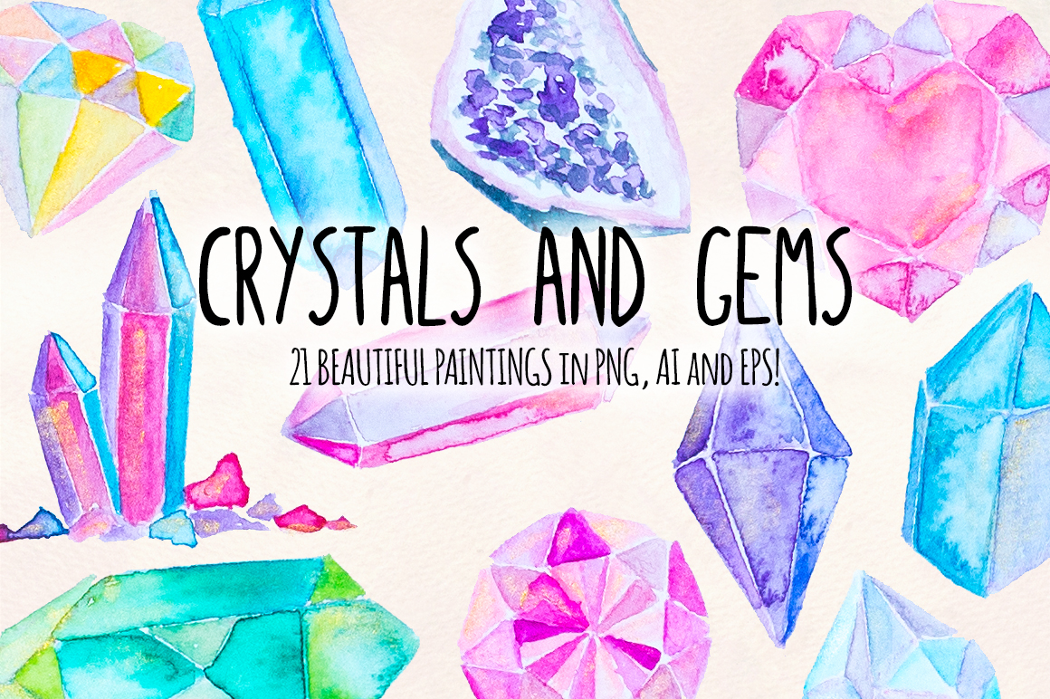 21 Crystal Gems Hand Painted Mystical Watercolor Vectors example image 1